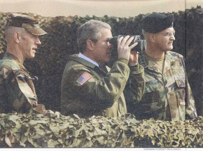 George Bush With Capped Binoculars