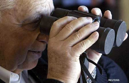 Ariel Sharon with Capped Binoculars