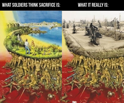 what soldiers think sacrifice is death destruction