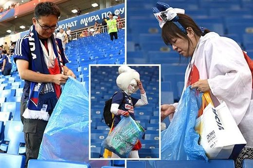The Japanese cleaned the garbage Rostov Arena
