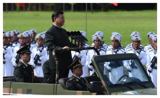 Chinese President Xi Jinping reviews troops