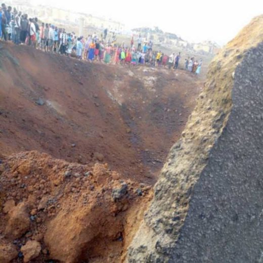 The crater left by a meteor impact in Akure, Nigeria